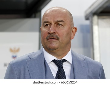BUDAPEST, HUNGARY - JUNE 5, 2017: Head coach Stanislav Cherchesov of Russia waits for the kick-off prior to Hungary v Russia match at Groupama Arena.