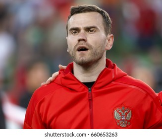 BUDAPEST, HUNGARY - JUNE 5, 2017: Igor Akinfeev of Russia listens to the anthem prior to Hungary v Russia match at Groupama Arena.