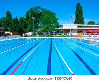 Budapest, Hungary - June 5, 2018: Open-air swimming pool in the city park on the Margaret island.