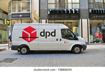 BUDAPEST, HUNGARY - JUNE 8: DPD van in the street of Budapest on June 8, 2016. DPD is a company providing international delivery services.