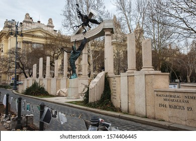 Budapest, Hungary - March 07, 2019:  Memorial to the Victims of the German Invasion