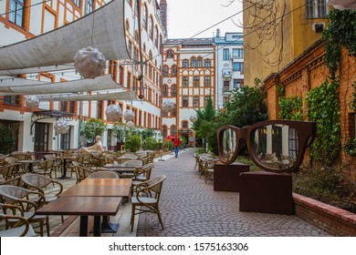 Budapest, Hungary - March 07, 2019: Street Cafe in the center of Budapest