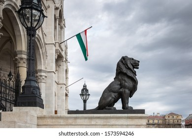 Budapest, Hungary - March 08, 2019: Sculpture of lion near Hungarian parliament