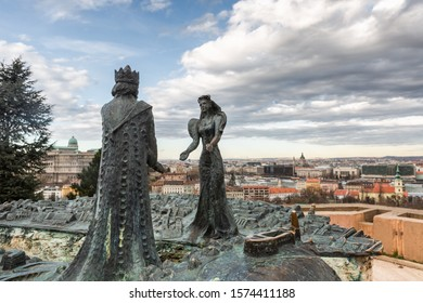 Budapest, Hungary - March 08, 2019:  Sculptures King Buda and Lady Pest on Mount Gellert