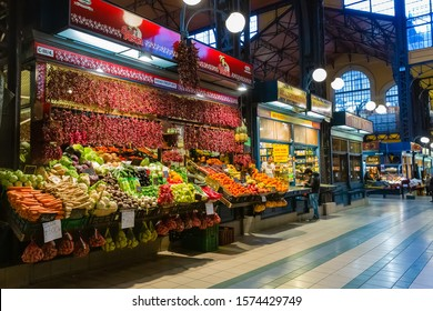 Budapest, Hungary - March 08, 2019:  Overview of the Great Market Hall inside, it is Central Market Hall   -  the largest and oldest indoor market in Budapest