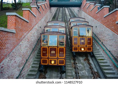 BUDAPEST, HUNGARY - MARCH 09: Vintage funicular in Budapest, Hungaryon March 09, 2017 in Budapest, Hungary.