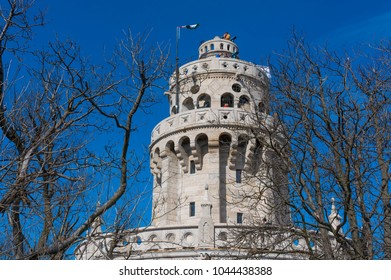Budapest, Hungary - March 10, 2018: The Elizabeth Lookout, a historic lookout tower on Janos-hegy above Budapest. Built in 1911, the tower was named after Empress Elisabeth.