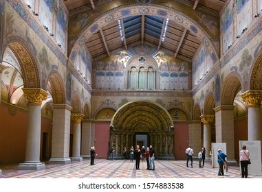 Budapest, Hungary - March 10, 2019: Interior of the Museum of Fine Arts, Romanesque Hall