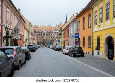 BUDAPEST, HUNGARY - MARCH 12, 2015: Cars parked on the old streets of Budapest. March 12, 2015. Budapest, Hungary.