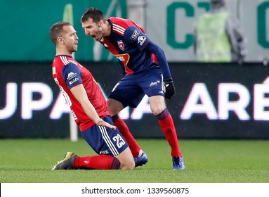 BUDAPEST, HUNGARY - MARCH 13, 2019: (l-r) Roland Juhasz celebrates his goal with Marko Scepovic during Ferencvarosi TC v MOL Vidi FC Hungarian Cup match at Groupama Arena.