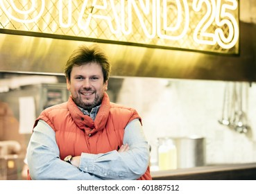 Budapest, Hungary - March 16, 2017: Zoltan Hamvas, president of hungarian Bocuse dor Academy in front of his newly opened restaurant on Feny street market.
