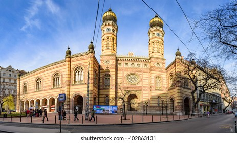 BUDAPEST, HUNGARY - MARCH 19, 2016: Panoramic view of the Great Synagogue in Dohany Street. The Dohany Street Synagogue (Tabakgasse Synagogue) is the largest synagogue in Europe. Budapest, Hungary.