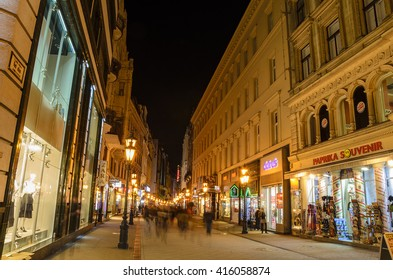 BUDAPEST - HUNGARY MARCH 19 2016: View of the Pedestrian streets and night life at the local market of Budapest - Hungary