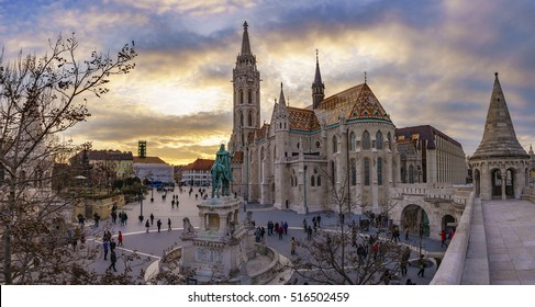 BUDAPEST - HUNGARY, MARCH 19 2016: Panoramic view of the famous Fisherman's Bastion square. Centered the St. Stephen Statue. It is one of the most visited attractions in Budapest, on March19 2016.