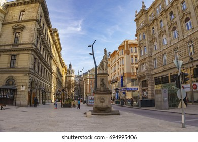 BUDAPEST, HUNGARY - MARCH 20 2016: Vaci Utca is the main shopping street in Budapest, Hungary.