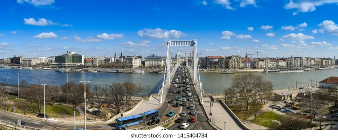 BUDAPEST, HUNGARY - MARCH 2018: Panoramic view of traffic queuing to cross the Elisabeth Bridge over the River Danube in Budpaest city centre.