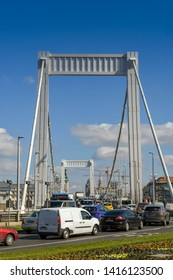 BUDAPEST, HUNGARY - MARCH 2018: Traffic queuing to cross the Elisabeth Bridge which crosses the River Danube in Budpaest city centre.