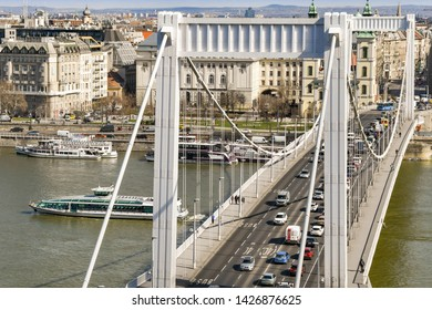 BUDAPEST, HUNGARY - MARCH 2018: Traffic queuing to cross the Elisabeth Bridge over the River Danube in Budpaest city centre.