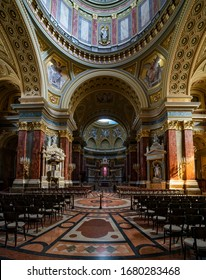 Budapest, Hungary - March 22, 2020: Interior of St. Stephans Basilica in Budapest, Hungary.