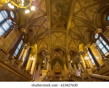 Budapest, Hungary - March 24 2017. Hungarian Parliament Building's interiors. Main hall of parliament building.