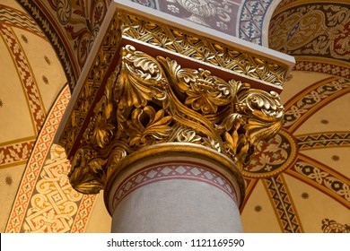 Budapest, Hungary - March 27, 2018: Interior of renovated Roman Hall in Museum of Fine Arts