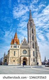 Budapest, Hungary - March 27, 2018: Matthias Church in Budapest, Hungary. The building was constructed in the florid late Gothic style in the second half of the 14th century.