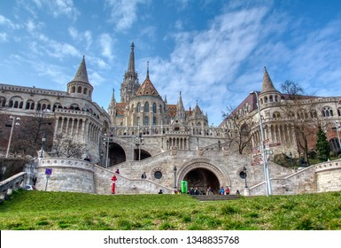Budapest, Hungary - March 27, 2018: A landscape view of the fisherman's bastion  a popular attraction in Budapest, Hungary.