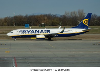 Budapest / Hungary - March 27, 2019: Ryanair Boeing 737-800 EI-DLE passenger plane departure and take off at Budapest Airport