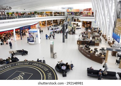 BUDAPEST, HUNGARY - MARCH 27: departure lounge at Budapest Ferenc Liszt International Airport on March 27, 2015 in Budapest, Hungary. 9.16 million passengers used Budapest Airport in 2014.