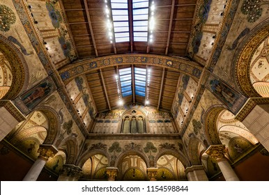 Budapest, Hungary - March 30, 2018 : Interior of renovated Roman Hall in Museum of Fine Arts.The renewed Romanesque Hall  will be open again in October this year.