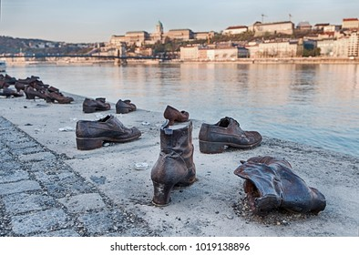 BUDAPEST, HUNGARY - MARCH 31, 2017: The memorial of the Shoes On The Danube was created by Can Togay and Gyula Pauer to commemmorate Hungarian Jews who were victims of the Holocaust.