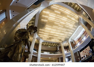 Budapest, Hungary - March 31, 2017: Interior of Hungarian National Gallery (Magyar Nemzeti Galeria), was established in 1957 as the national art museum. It is located in Buda Castle.