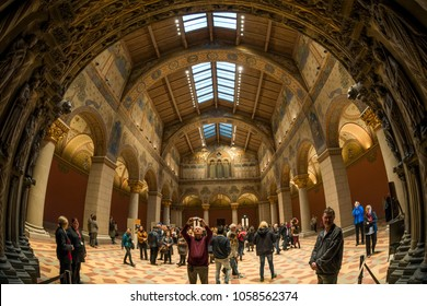Budapest, Hungary - March 31, 2018: People visit the of renovated Roman Hall in Museum of Fine Arts.