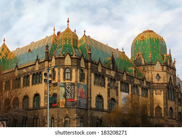 """BUDAPEST / HUNGARY - MARCH 5: Museum of Applied Arts in Budapest, featuring """"Bigot Pavilion""""�Art Nouveau Architectural Ceramics from Paris, till August 31, 2014, on March 5, 2014 in Budapest/Hungary"""