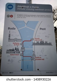 Budapest, Hungary - March 9, 2019: Map of Danube crossing riverboat line. For tourist who need to special focus on providing short rides to connect Pest and Buda in Danude river.
