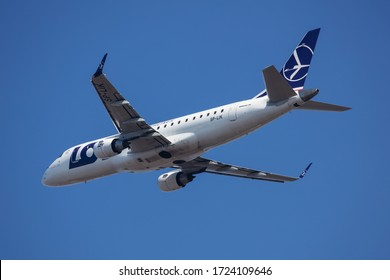 Budapest / Hungary - March 9, 2020: LOT Polish Airlines Embraer 175 ERJ-175 SP-LIK passenger plane departure and take off at Budapest Airport