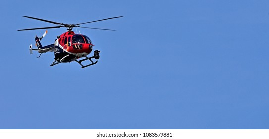BUDAPEST, HUNGARY - MAY 01, 2018: Red Bull Production The Great Run VI  2018 - intermediary helicopter Red Bull - The Flying Bulls Bo 105 CBS-5 (D-HUDM)