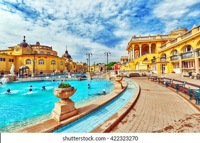 BUDAPEST, HUNGARY - MAY 05,2016: Courtyard of Szechenyi Baths, Hungarian thermal bath complex and spa treatments.