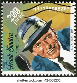 BUDAPEST, HUNGARY - MAY 08, 2015: A stamp printed in Hungary shows Francis Albert Frank Sinatra (1915-1998), American singer, actor, and producer