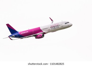 Budapest, Hungary - May 1, 2016. A Wizz Air Airbus A321 (HA-LXD) flies during an air show over the capital city of Budapest.