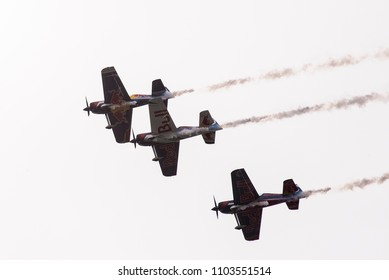 Budapest, Hungary - May 1, 2016. A group of Corvus Racer 540 Red Bull Air Race aircrafts flies in close formation during an open to the public air show over the city of Budapest.