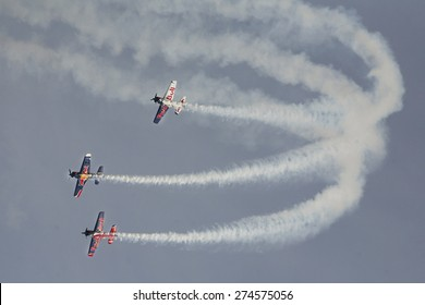 BUDAPEST, HUNGARY - MAY 1: Flying Bulls Aerobatics Team as part of the air show on May 1 celebration of 2015, Budapest, Hungary