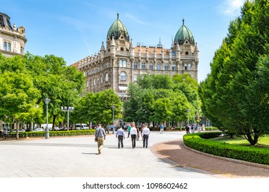 BUDAPEST, HUNGARY - MAY 10, 2018: Midday view on the Liberty Square in District V, Leopold Town with the Swabian House (eclectic, neo romanesque style building)