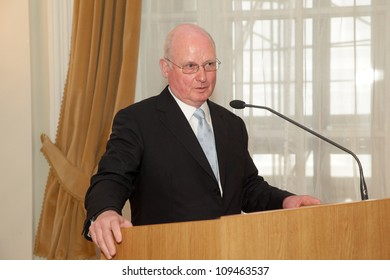 BUDAPEST, HUNGARY - MAY 11: Prof. Helmut Russmann from the Saarland University speaks on the ceremonial meeting of the senat of ELTE University on May 11, 2012.