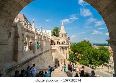 BUDAPEST, HUNGARY,- MAY 11,2018: People visiting the Fisherman's Bastion at the heart of Buda's Castle District in Budapest,Hungary