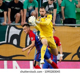 BUDAPEST, HUNGARY - MAY 12, 2018: (r-l) Goalkeeper Gergely Nagy catches the ball beside his teammate Benedek Murka during Ferencvarosi TC v Vasas FC match at Groupama Arena.
