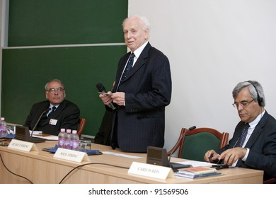 BUDAPEST, HUNGARY - MAY 13: Ferenc Madl former president of Hungary  speaks on the conference about the future of education on ELTE University on May 13, 2010 in Budapest, Hungary.