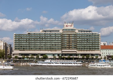 Budapest, Hungary - May 14, 2017 - Marriott Hotel next to Danube river in Budapest