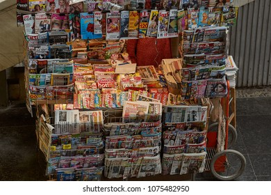 BUDAPEST, HUNGARY - MAY 15TH, 2018: Newspaper stand selling wide range of publications