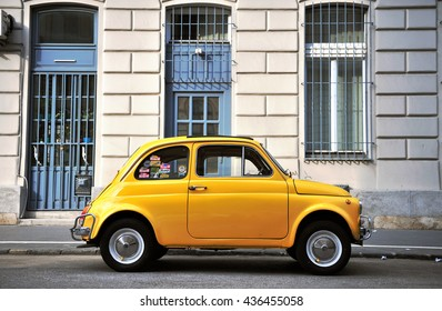 BUDAPEST, HUNGARY - MAY 18: Old fashioned car parked in the street of Budapest on May 18, 2016.
